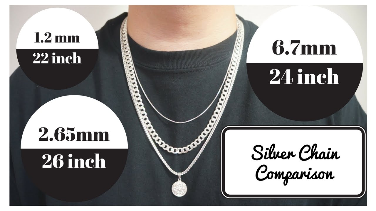 Silver Chains Length And Width Comparison Youtube
