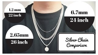 Silver Chains Length and Width Comparison