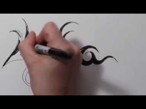 Tribal Name Lydia - Real Time Speed Drawing Tattoo Design Sketch