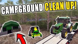 CLEANING UP CAMPGROUND   PREPARING FOR THE FOURTH   JOHN DEERE MOWER   FARMING SIMULATOR 2017