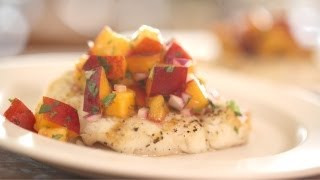 Grilled Halibut With Nectarine Salsa Recipe || Kin Eats