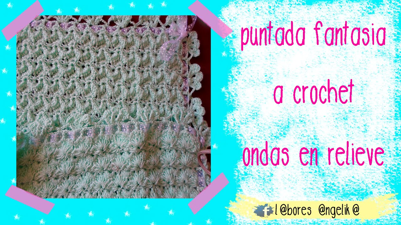 Parte 1 de 2 cobija para bebe a crochet ondas en relieve - Labores de crochet para bebes ...