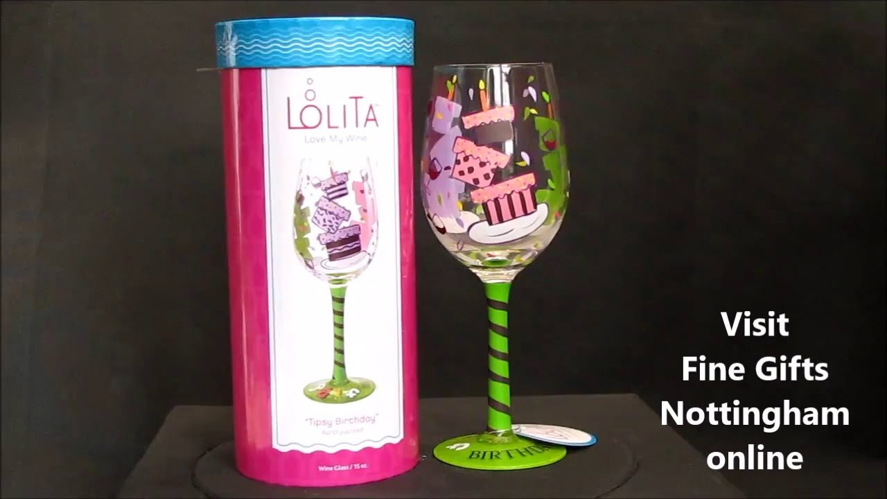 Lolita Tipsy Birthday Wine Glass Hand Painted Glasses
