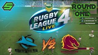 RUGBY LEAGUE LIVE 4 | Cronulla Sharks vs Brisbane Broncos | Round 1 w/SharknadoTV