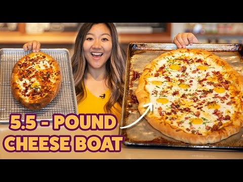 I Challenged My Friend To Finish A 5.5-Pound Cheese Boat • Giant Food Time