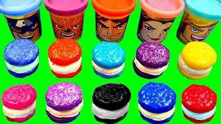 Learn Colors with Play Doh Cookie Molds and Super Hero PJ Masks Disney Car Surprise Toys Kinder Eggs