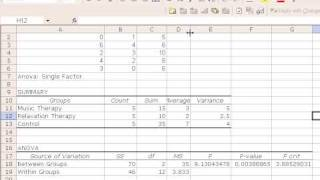 ANOVA with Excel