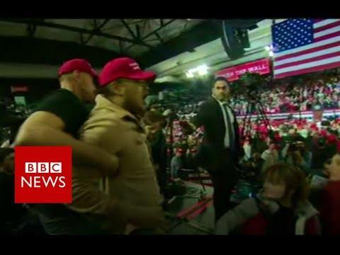Trump supporter shoves BBC cameraman - BBC News