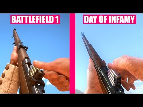 BATTLEFIELD 1 Gun Sounds vs Day of Infamy