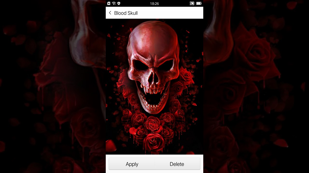 Red blood skull live wallpaper - YouTube