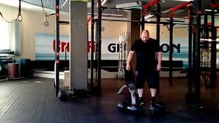 Парный жим шаровы`х гантелей по 50кг лёжа на скамье.Double globe dumbbells incline bench press-100kg