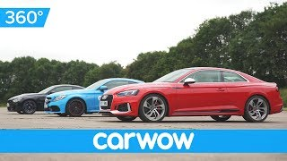 Audi RS 5 v BMW M4 v Mercedes-AMG C63S - 360 degree DRAG RACE | Head2Head
