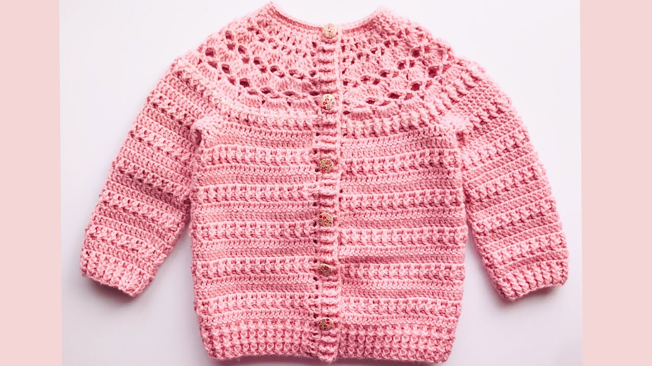 Crochet cardigan sweater for girls 5-6 years and up to 12 years / How to  crochet / Crochet for Baby - YouTube