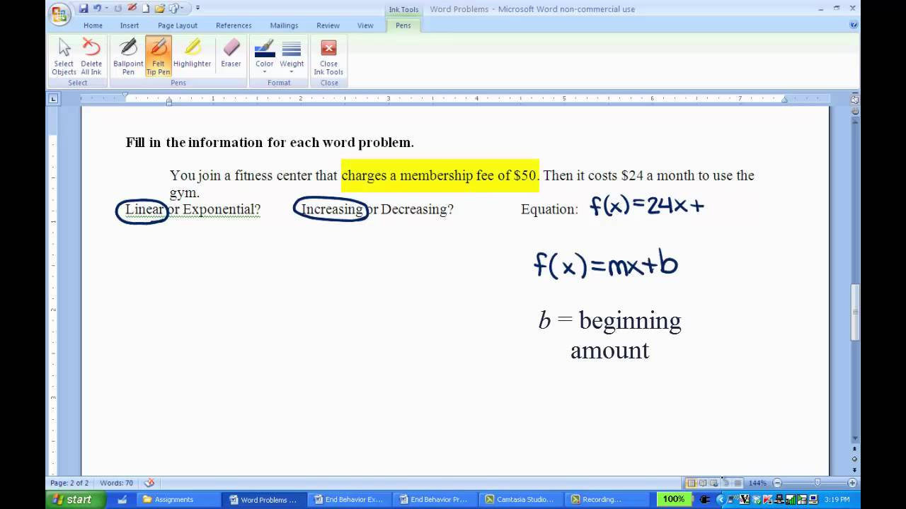 What are linear function word problems?