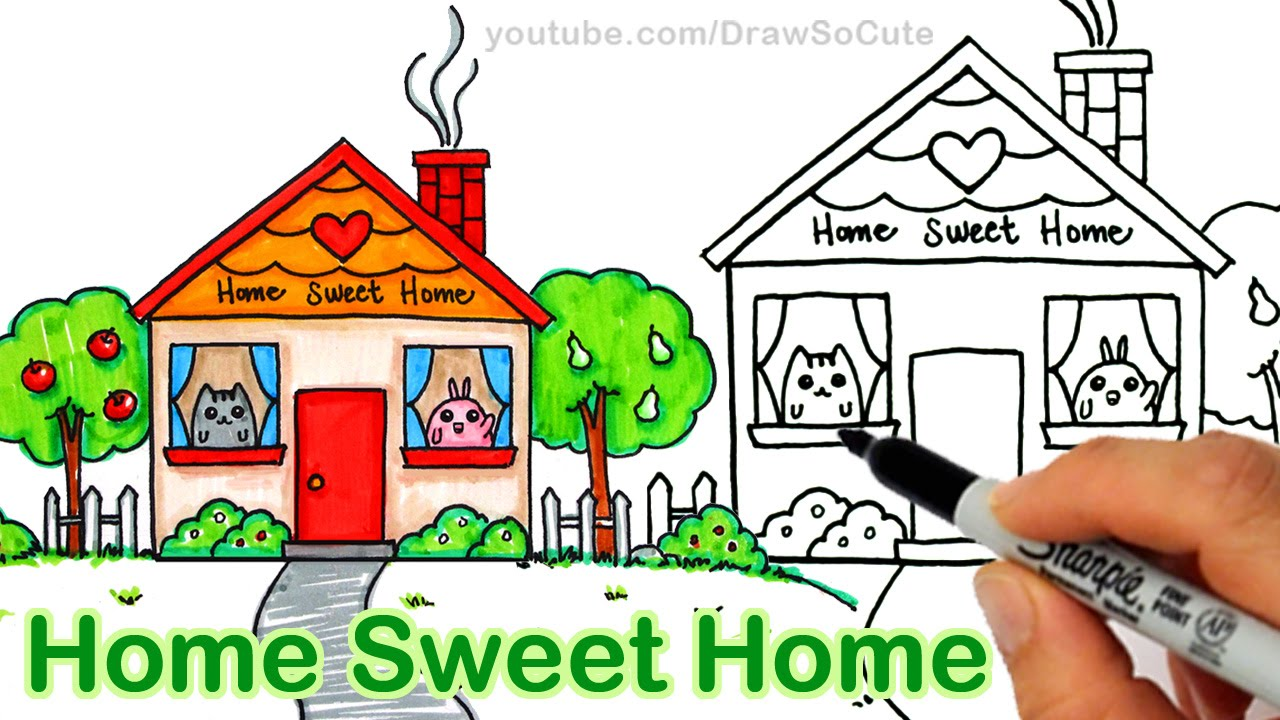 How to Draw a Cartoon House Cute step by step Home Sweet ...