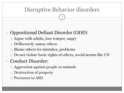 Disruptive Behavior Disorders in Childhood and Adolescence