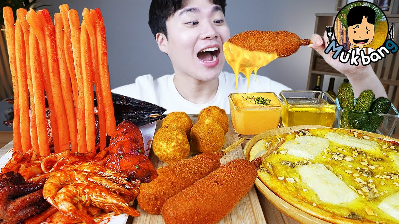 ASMR MUKBANG 해물찜 떡볶이 & 핫도그 & 치즈 피자 FIRE Noodle & HOT DOG & CHEESE PIZZA EATING SOUND!