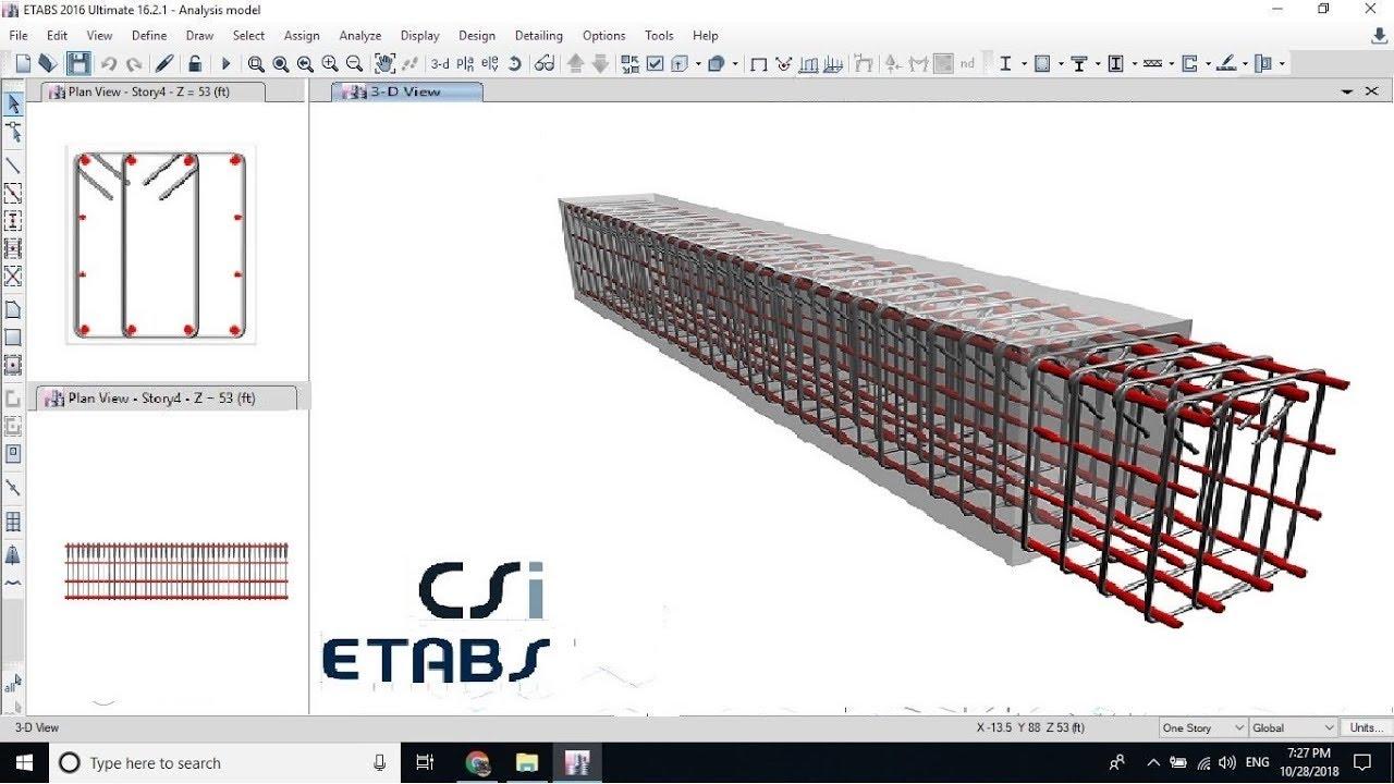 Detailing and Design of Continuous Beam using etabs tutorial