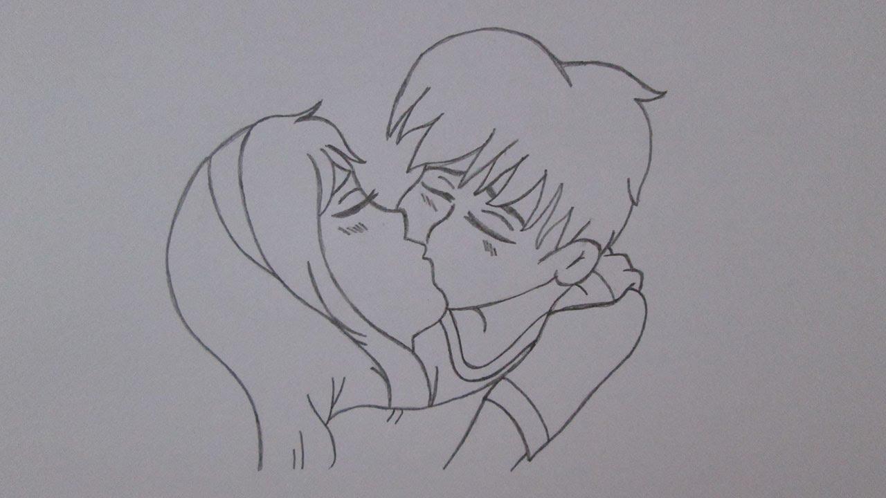Como Desenhar Coisa Amorosa: Como Desenhar Um Garoto E Uma Garota Se Beijando