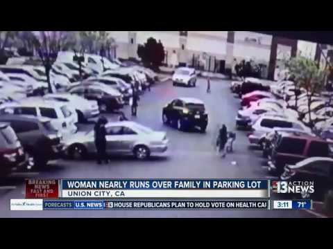 Woman almost runs over people in California parking lot