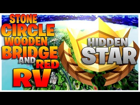 """""""Search between a Stone Circle, Wooden Bridge and a Red RV"""" - Week 10 Hidden Star Challenge Fortnite"""
