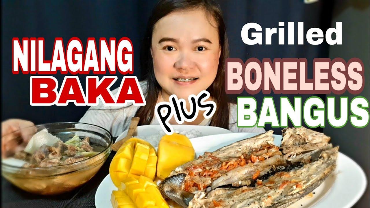 NILAGANG BAKA   INIHAW NA BONELESS BANGUS  MANGO MUKBANG!!PINOY MUKBANG