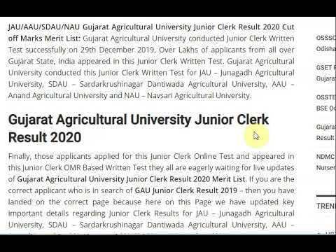 Gujarat Agricultural University Junior Clerk Result 2020 JAU/AAU Clerk M...