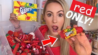 ❤️💋 My RED Lip Balms Choose What I Eat for 24 Hours! *SATISFYING*