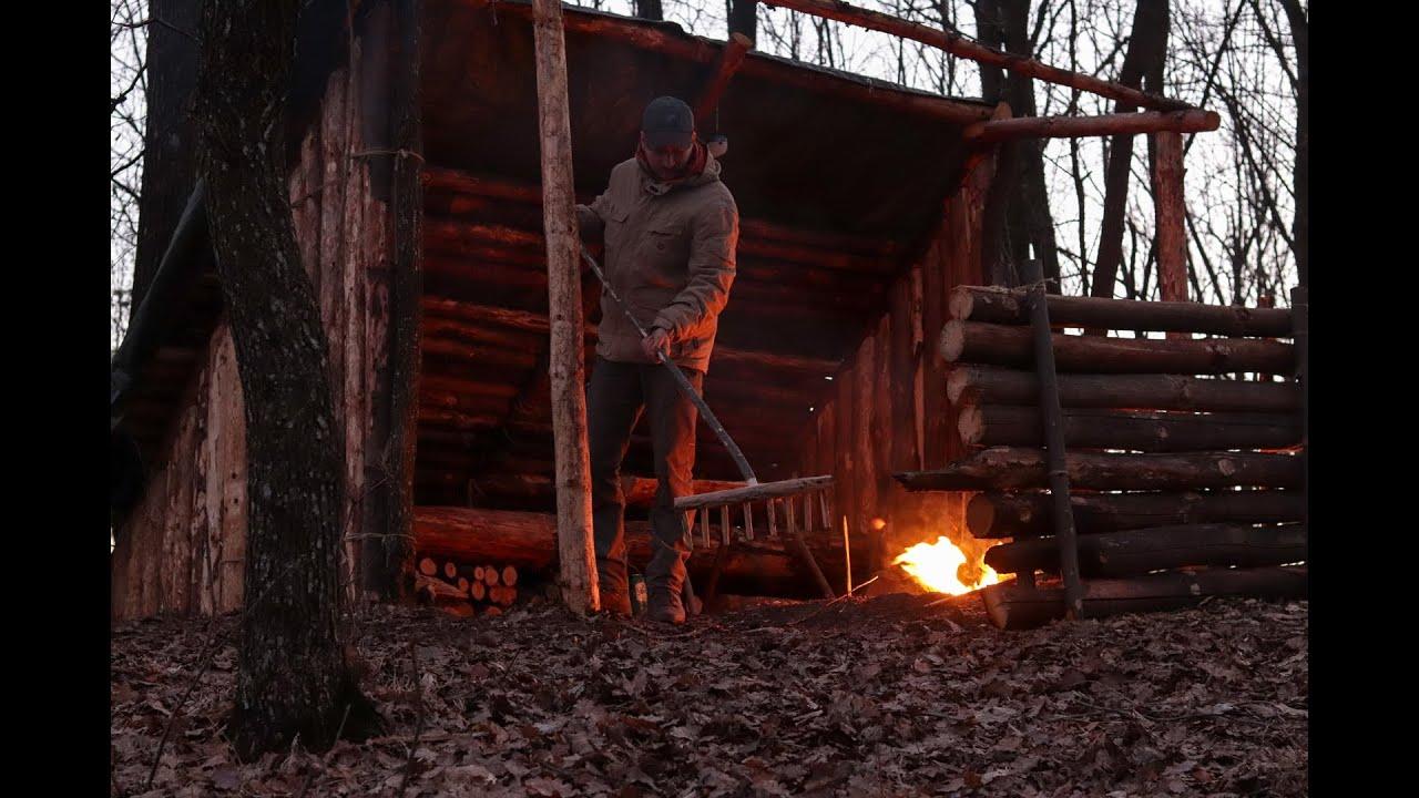 Bushcraft shelter overnight : woodcraft and primitive cooking | spring 2021