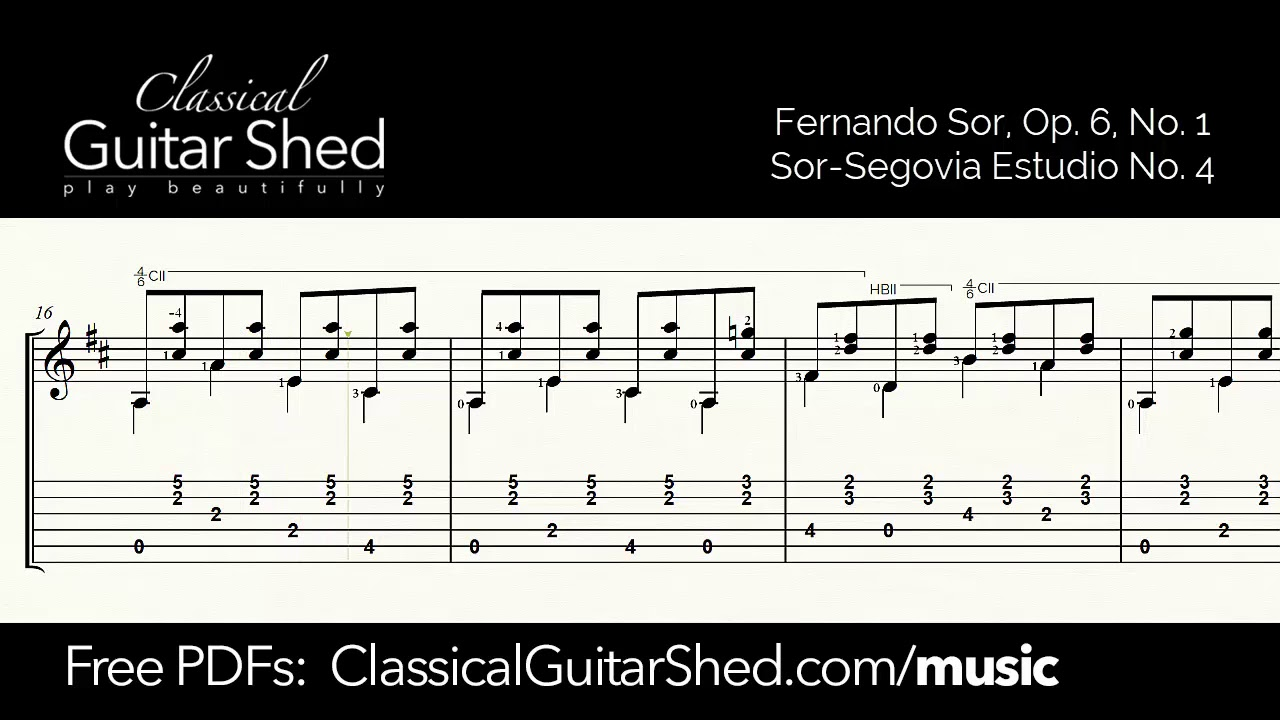 Sor: Etude op 6 No 1 - Free sheet music and TABS for classical guitar