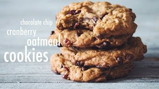 Vegan Chocolate Chip Cranberry Oatmeal Cookies | Hot For Food