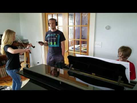 Haley Richardson (14) on fiddle with Colman Connolly (11) on piano accompaniment