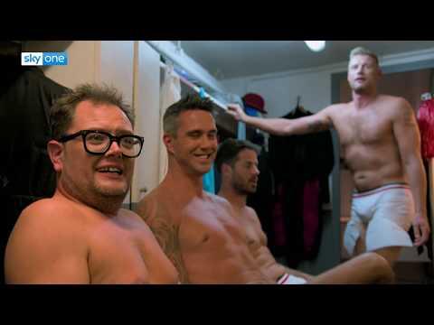 Alan Carr, Kevin Pietersen, Freddie Flintoff and Jamie Redknapp in tight pants