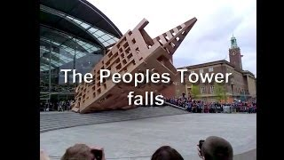 Boxes fall at the Forum - The People's Tower - Norwich