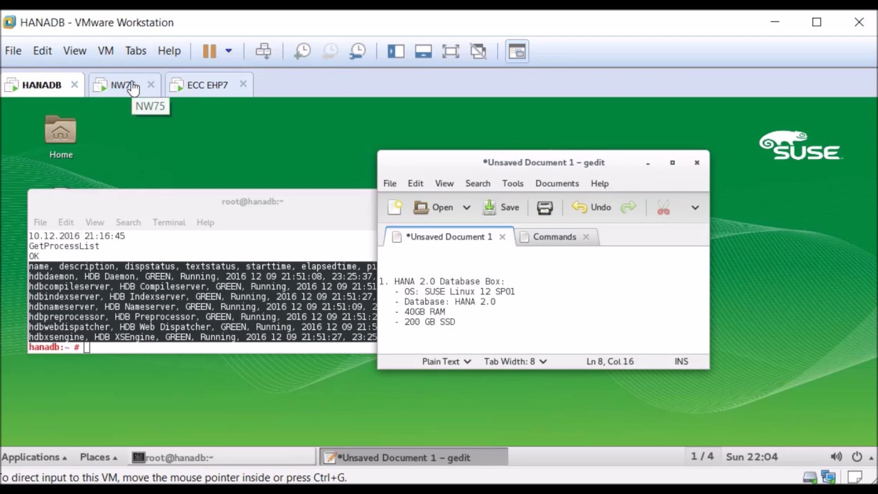 SAP HANA 2 0 Home Training Server - VMWare (Laptop)