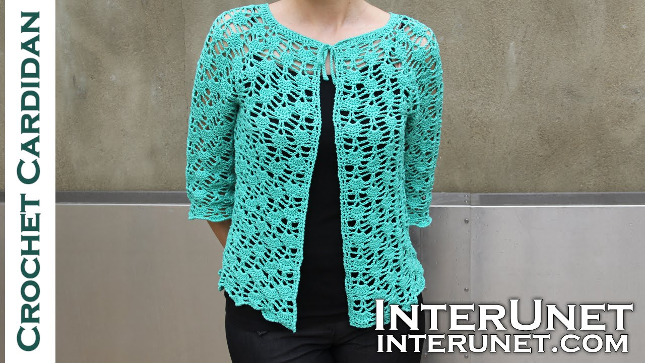 Front tie lace cardigan crochet pattern. Part 2 of 2 - YouTube