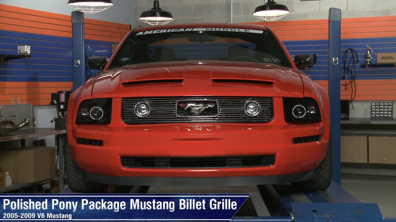 Pony Package Grille : Mustang polished and black pony package billet grille
