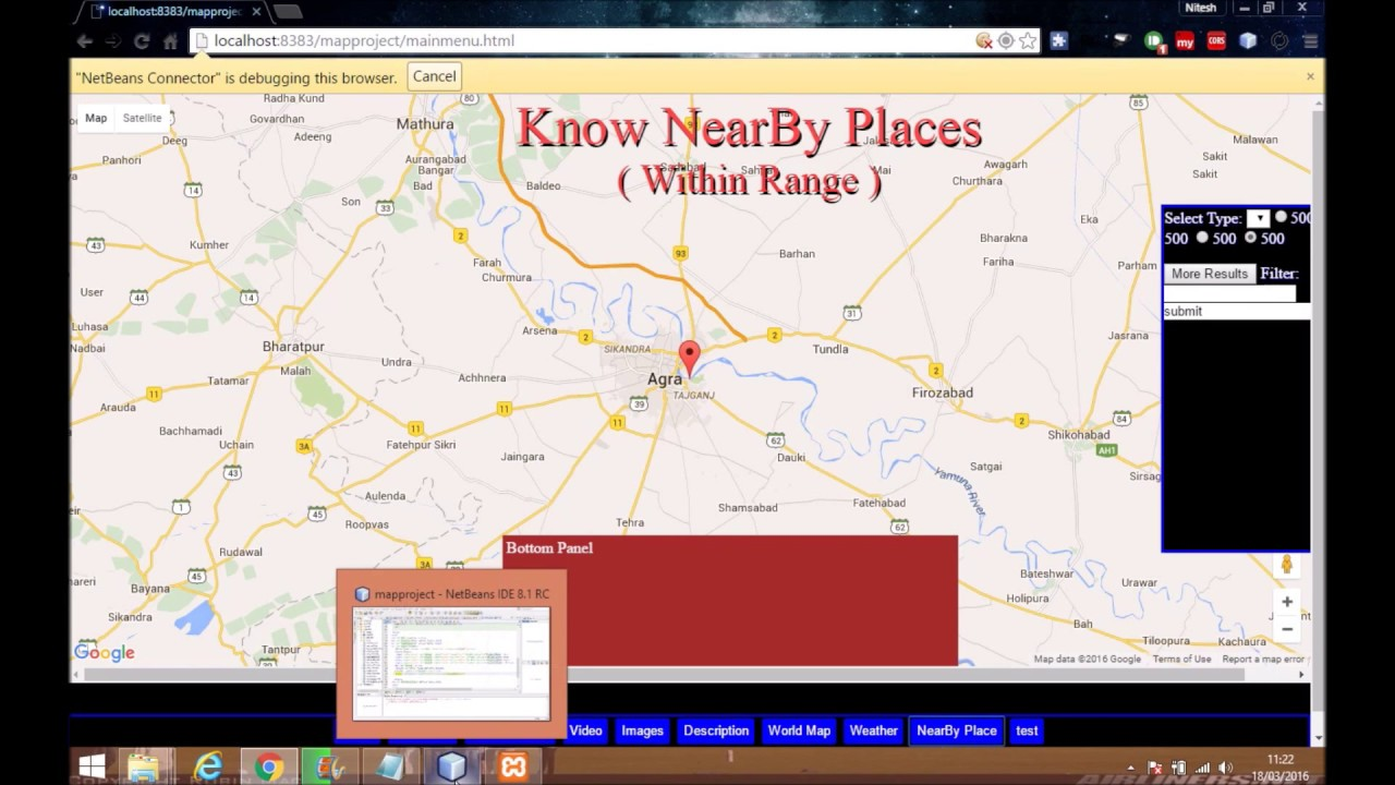 Google Maps JavaScript API Tutorial Search And Find Nearby Places - Show google map using latitude and longitude javascript