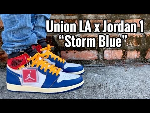 "81c6c593db2a Air Jordan 1 x Union LA ""Storm Blue"" on feet - YouTube"