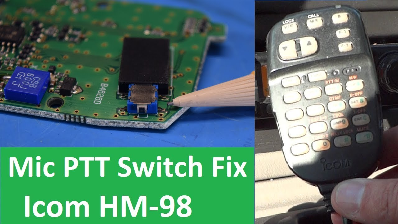 microphone ptt switch quick repair icom hm 98 [ 1280 x 720 Pixel ]