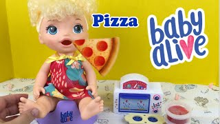 Making Pepperoni 🍕 Pizza for our NEW Baby Alive Super Snacks SNACKIN TREATS BABY Doll