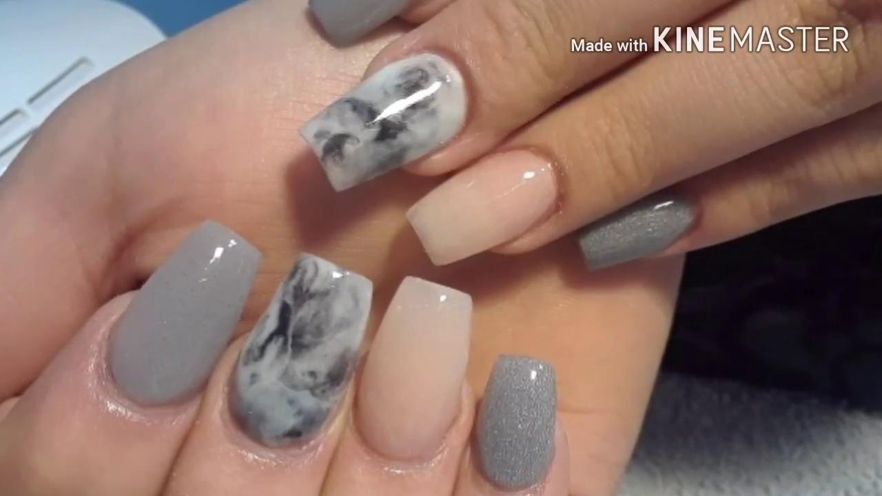 Uñas modernas/efecto mármol con acrilico - YouTube