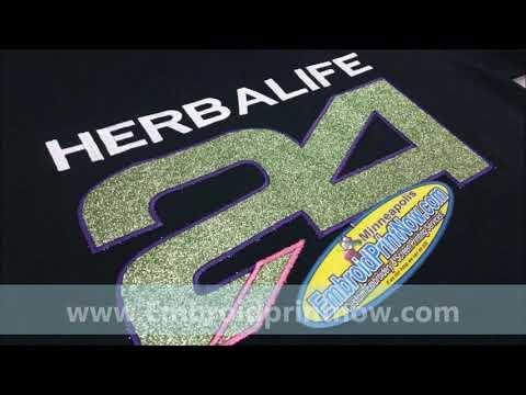 Herbalife Glitter Rip-away  Vinyl applique & embroidery Minneapolis