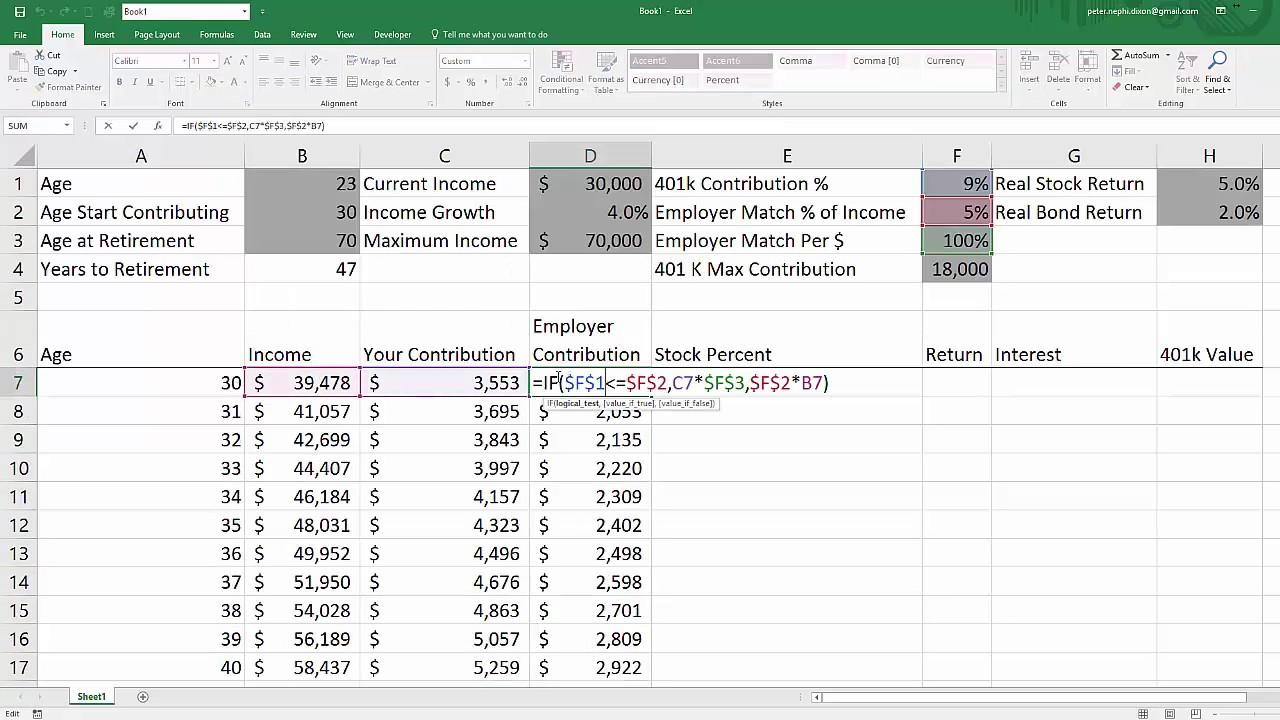 Excel 20 k Value Estimation