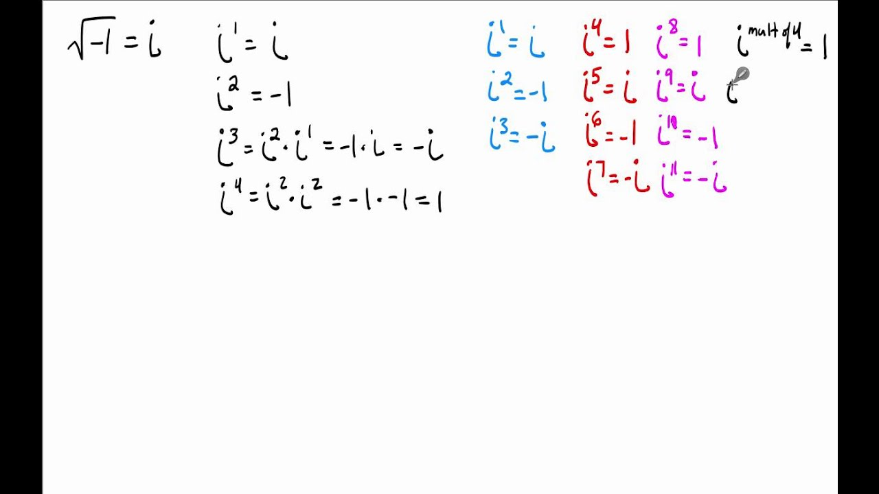 29 - SImplify expressions involving powers of i - YouTube