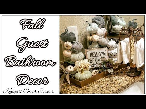 Fall Bathroom Vignette Decor | Decorate With Me | Neutral Fall Decor | Farmhouse Inspired