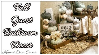 Fall Bathroom Vignette Decor | Decorate With Me | Neutral Fall Decor | Farmhouse Inspired