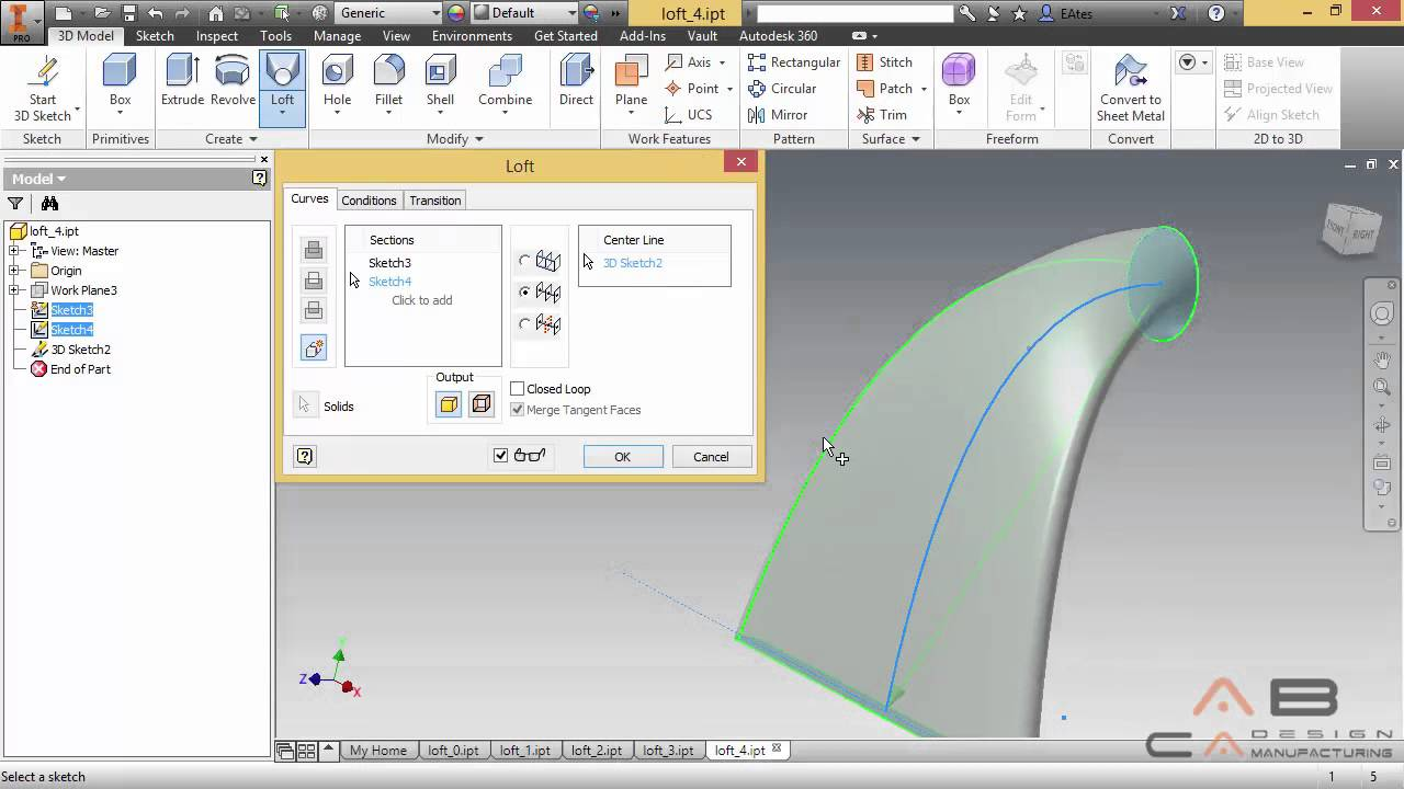 ABCADCAM - Inventor 2015 - 25. Loft Komutu - YouTube