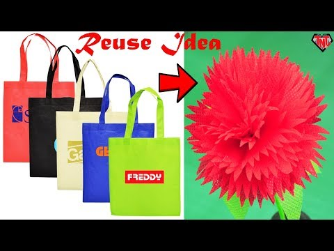 How to make flower from shopping bags || DIY teddy bear sunflowers || Best out of waste Craft