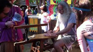 Oregon Country Fair 2011 -- Pedal-powered Band Saw Jigsaw.mov